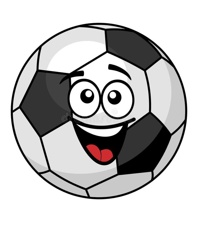 Ballon de football maladroit avec un grand heureux illustration de vecteur