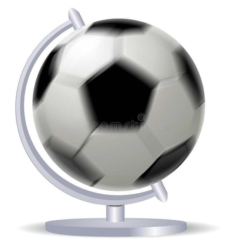 Ballon de football noir et blanc tournant ou football et globe illustration libre de droits