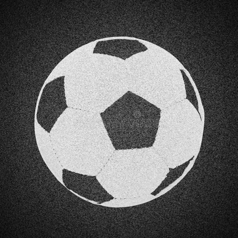 Ballon de football peint sur la texture d'asphalte illustration de vecteur