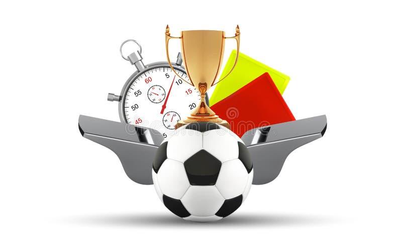 Ballon de football, sifflement avec une carte de chronomètre, jaune et rouge L'ensemble du football d'icônes avec des arbitres ob illustration libre de droits
