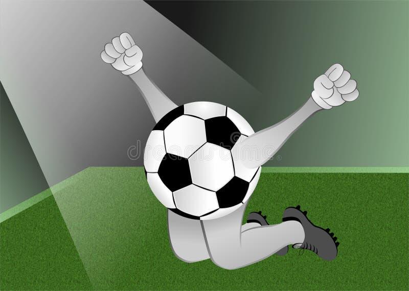 Ballon de football sous le projecteur illustration de vecteur
