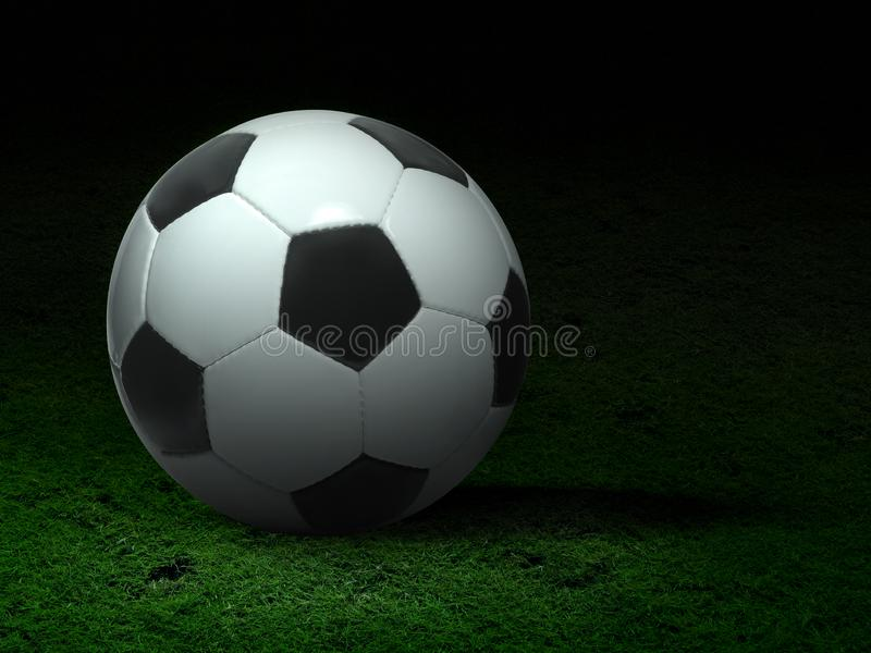 Ballon de football sur l'herbe et le stade photographie stock