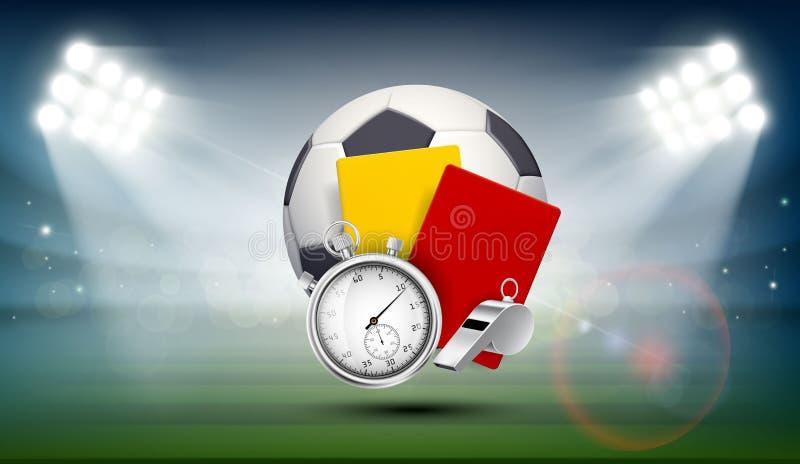 Ballon de football sur le champ du stade illustration libre de droits