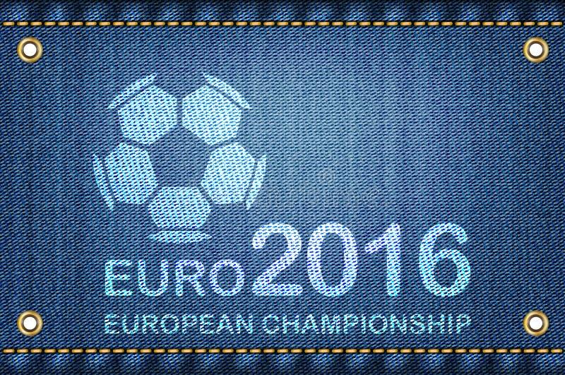 Ballon de football sur le fond de blues-jean Champio 2016 du football d'euro illustration stock