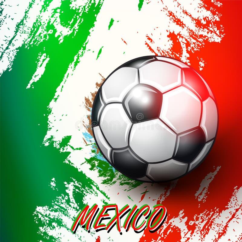 Ballon de football sur le fond de drapeau mexicain illustration stock