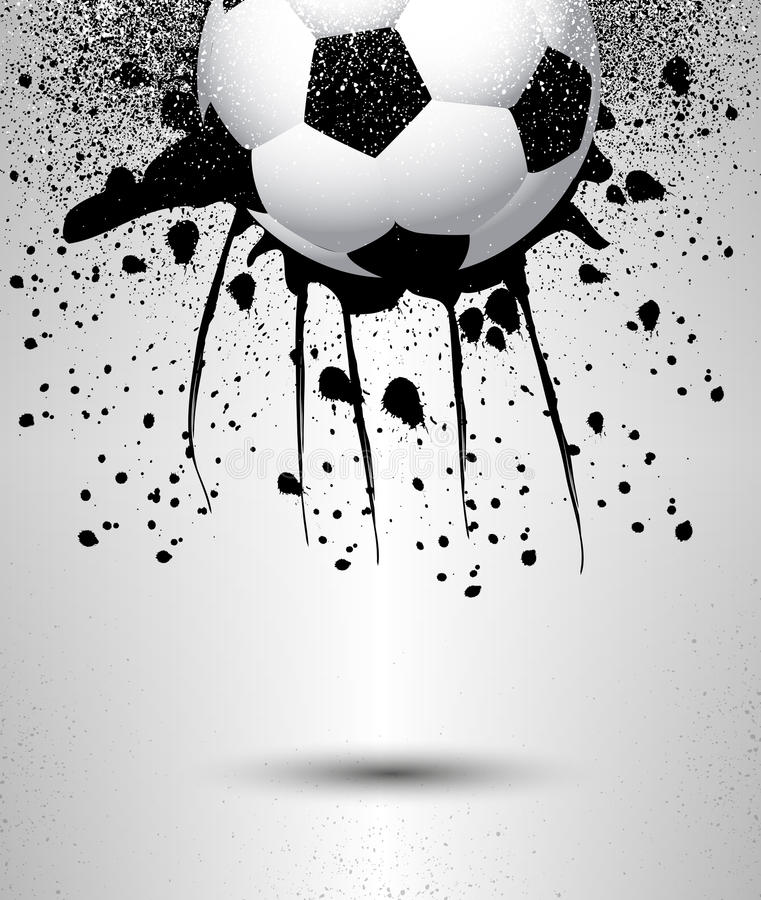 Ballon de football sur un fond gris illustration libre de droits