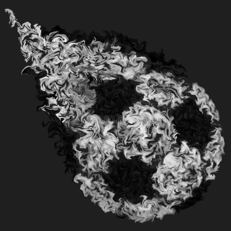 Ballon de football de vol en noir et blanc - couleurs enduites de palpitation, conception du feu illustration libre de droits