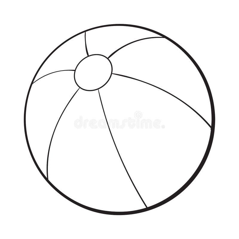 Ballon de plage gonflé noir et blanc, illustration de vecteur de style de croquis illustration libre de droits