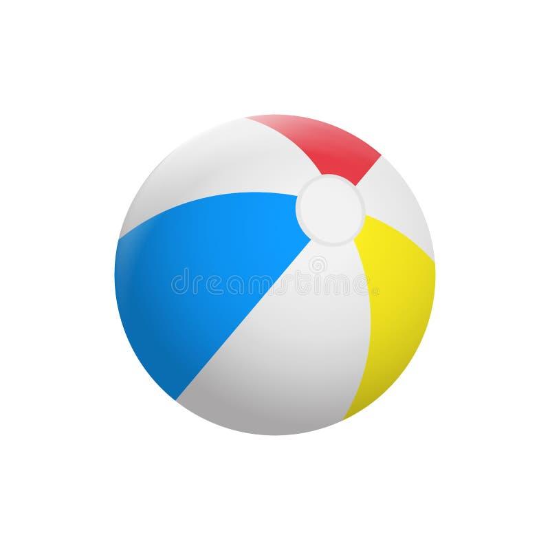 Ballon de plage réaliste d'isolement sur le fond blanc Illustration de vecteur illustration stock