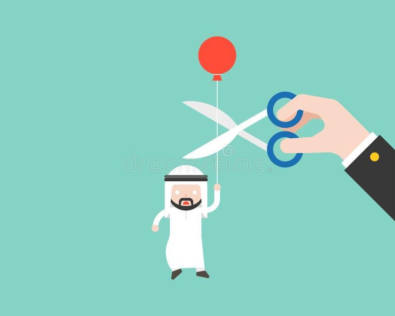 Ballon de transport et paranoïde d'homme d'affaires arabe qui coupe de grande main illustration de vecteur