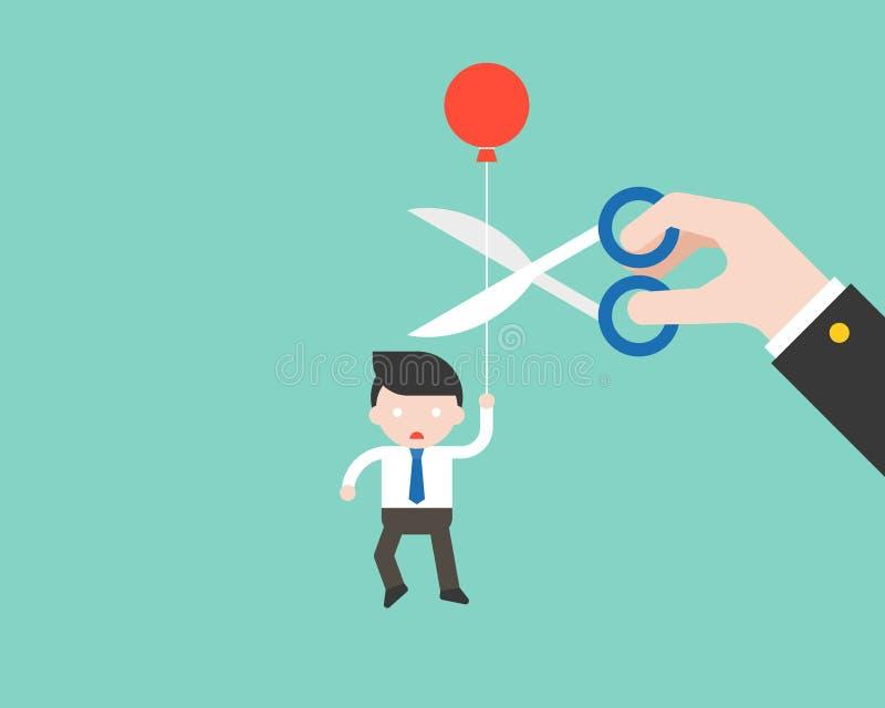 Ballon de transport et paranoïde d'homme d'affaires que la grande main a coupé son r illustration stock