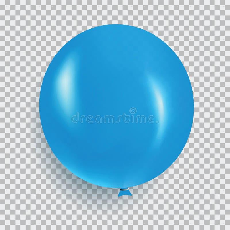 Ballon de vecteur réaliste de conception de couleur bleue d'isolement sur le transp illustration libre de droits