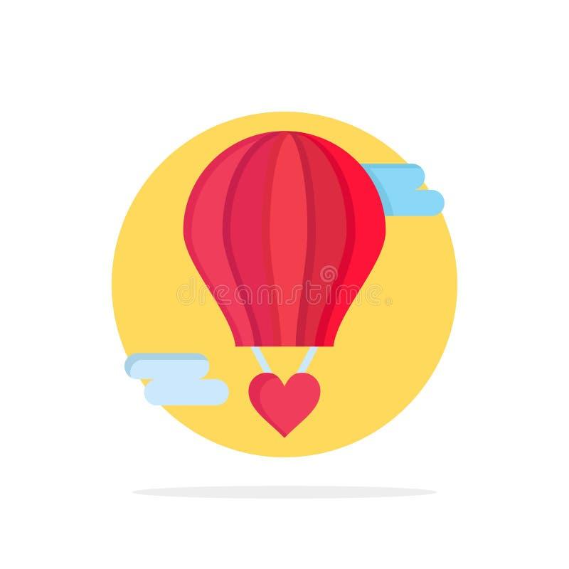 Ballon de vol, ballon chaud, amour, icône de couleur de Valentine Abstract Circle Background Flat illustration libre de droits