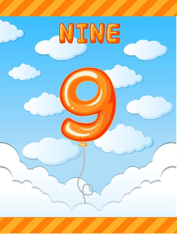 Ballon der Nr. neun auf Himmel stock abbildung