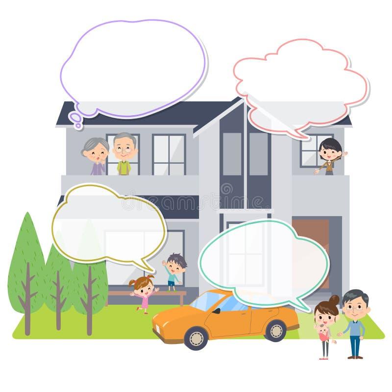 Ballon des textes de visionnement de maison de générations de la famille 3 illustration stock