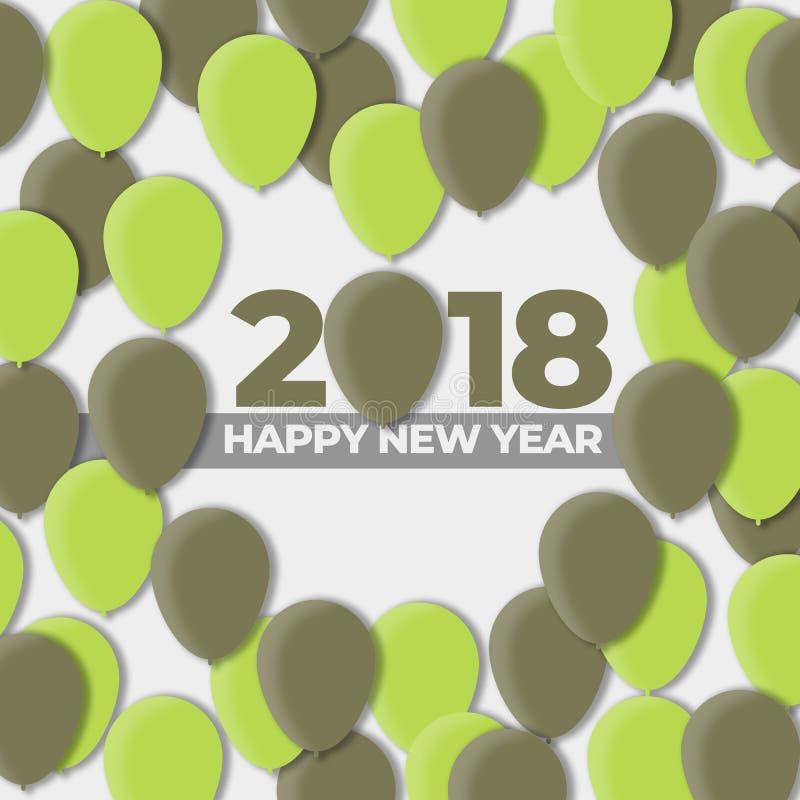 Ballon-Design-Feiertag der guten Rutsch ins Neue Jahr-2018 - 2017 stock abbildung