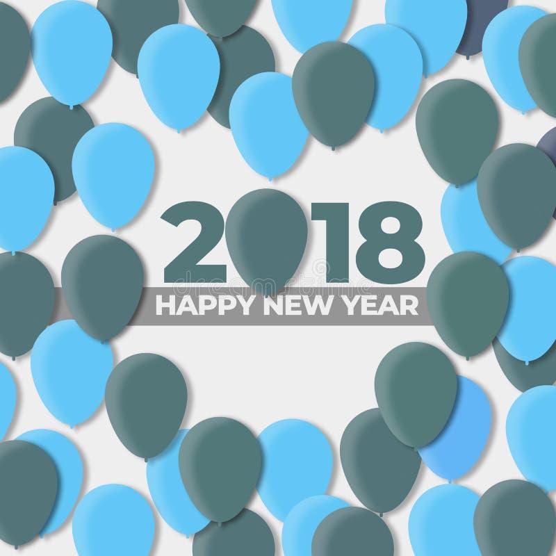 Ballon-Design-Feiertag der guten Rutsch ins Neue Jahr-2018 - 2017 lizenzfreie abbildung