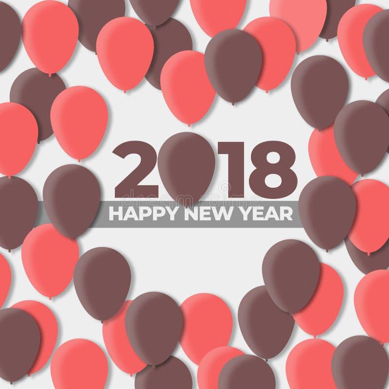 Ballon-Design-Feiertag der guten Rutsch ins Neue Jahr-2018 - 2017 vektor abbildung