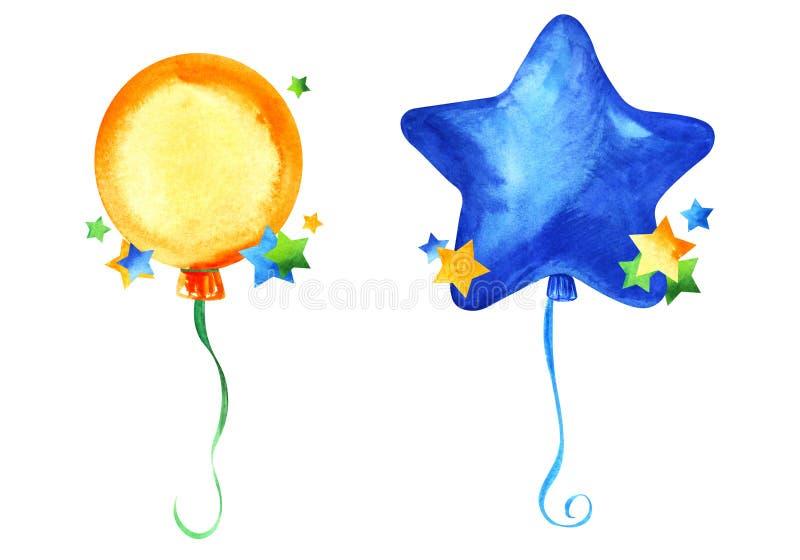 Ballon en forme d'étoile de partie bleue sur un ruban bleu et ballon rond orange de partie sur le ruban vert Éléments décoratifs  image stock