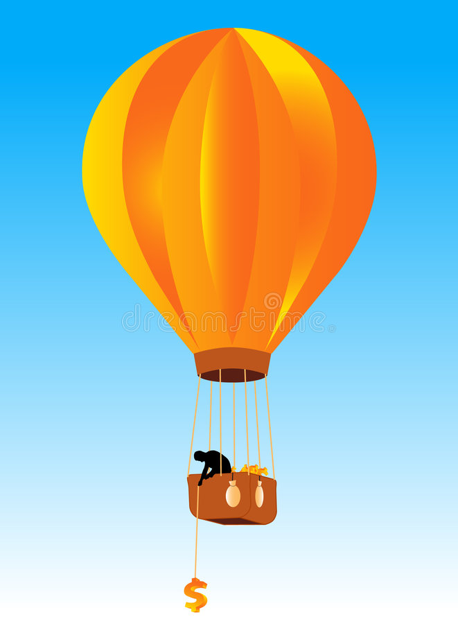 Ballon en zakenman vector illustratie