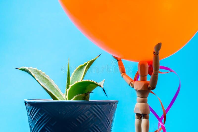Ballon environ à sauter sur le cactus images libres de droits