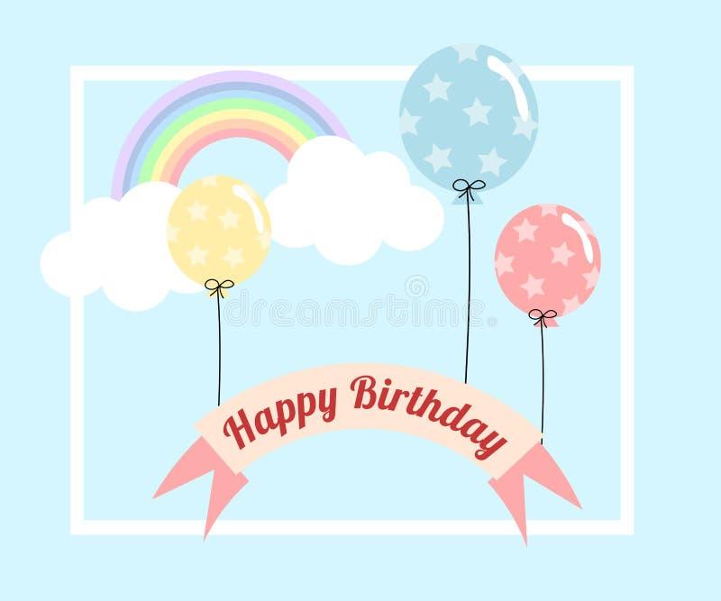 Ballon et arc-en-ciel en pastel pour la carte de voeux de joyeux anniversaire illustration stock