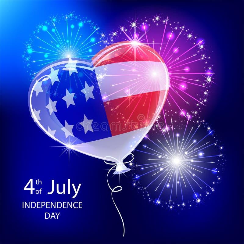Ballon et feu d'artifice de Jour de la Déclaration d'Indépendance illustration stock