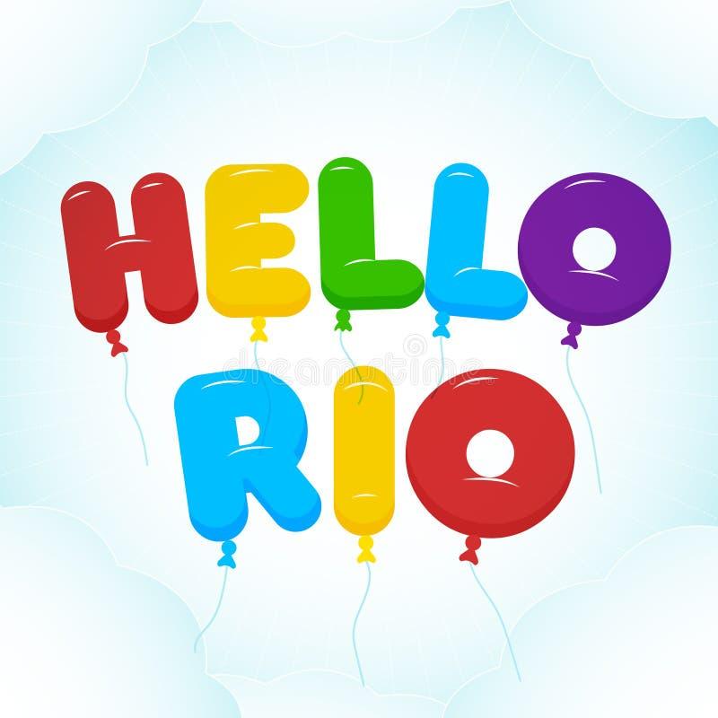 Ballon het Van letters voorzien, de kleurrijke tekst van Hello Rio Rond gemaakt, semi-transparent stock illustratie