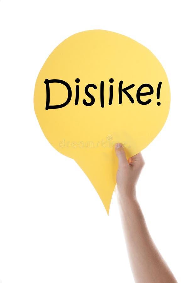 Ballon jaune de la parole avec l'aversion photo stock