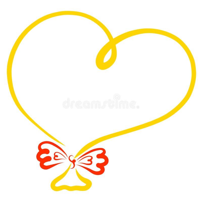 Ballon jaune sous forme de coeur avec un arc rouge, cadre illustration stock