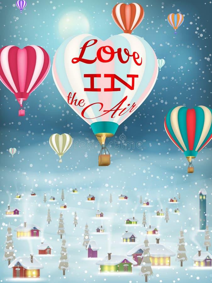 Ballon lumineux volant au-dessus du village ENV 10 illustration libre de droits