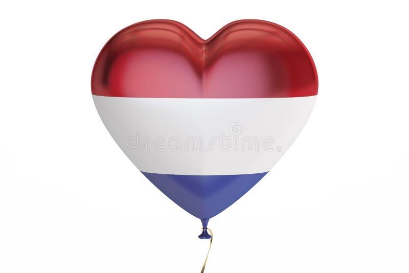 Ballon met de vlag van Nederland in de vorm van hart, 3D renderin royalty-vrije illustratie