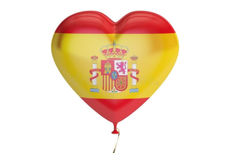 Ballon met de vlag van Spanje in de vorm van hart, het 3D teruggeven stock illustratie
