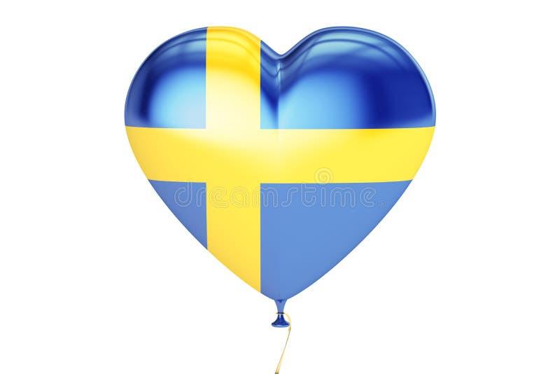 Ballon met de vlag van Zweden in de vorm van hart, het 3D teruggeven vector illustratie