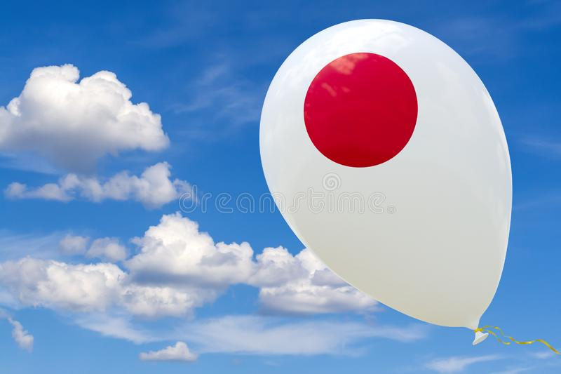 Ballon met het beeld van de nationale vlag die van Japan, door de blauwe hemel vliegen het 3D teruggeven, illustratie met exempla stock foto