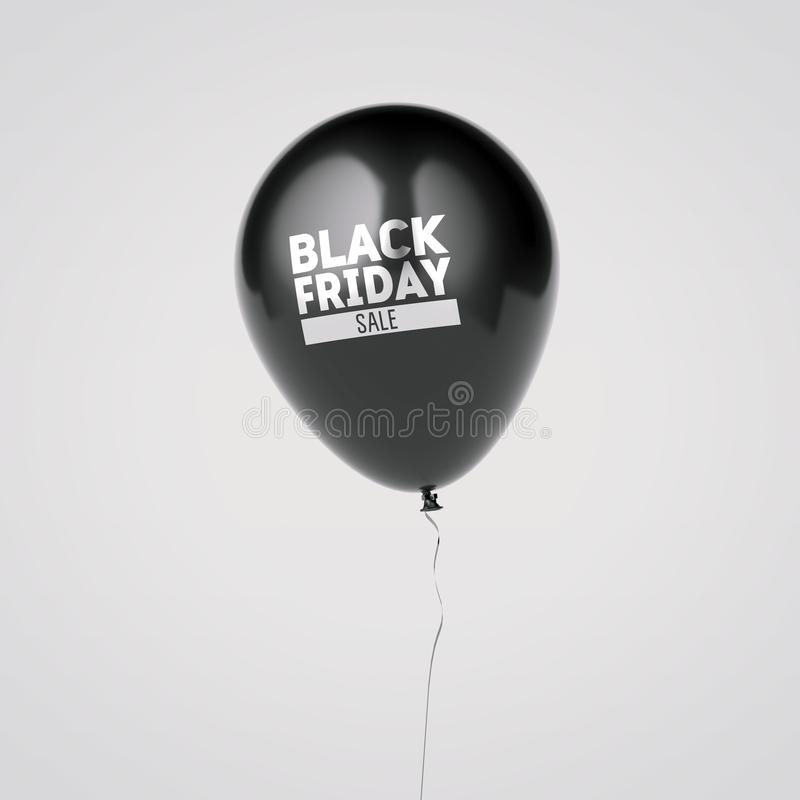 Ballon met het zwarte teken van de vrijdagverkoop het 3d teruggeven stock illustratie