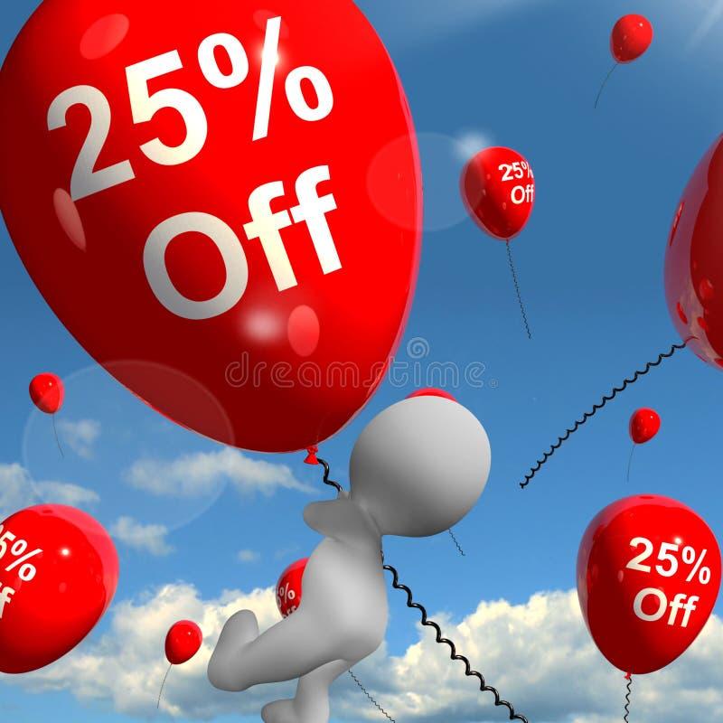 Ballon mit 25% weg vom Zeigen des Rabattes von fünfundzwanzig Prozent stock abbildung