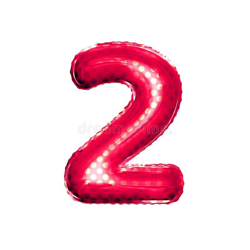 Ballon nummer 2 Twee 3D gouden folie realistisch alfabet royalty-vrije illustratie