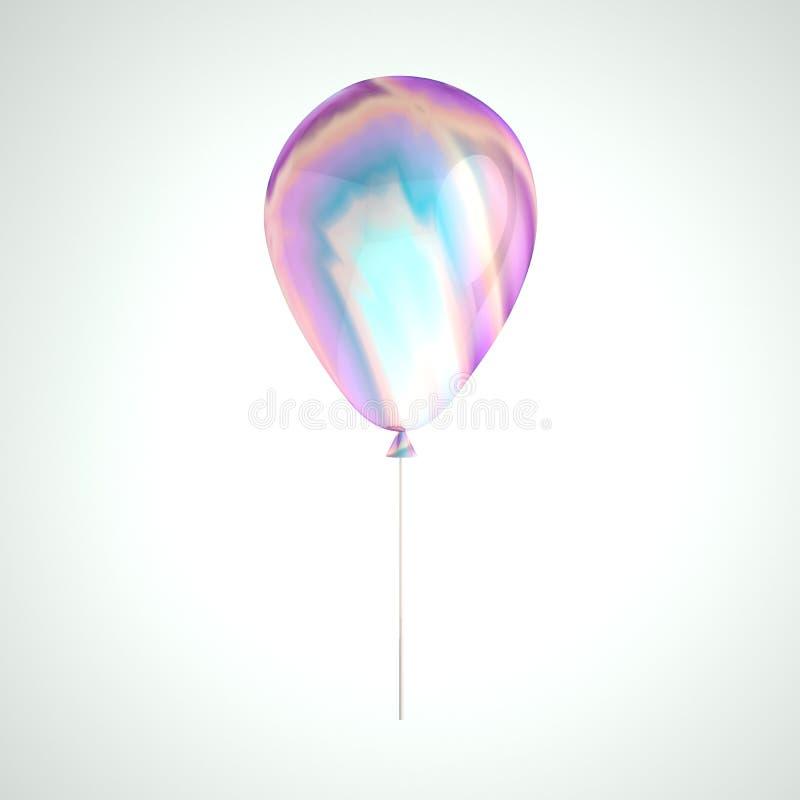 Ballon olographe d'aluminium d'irisation d'isolement sur le fond gris Élément réaliste à la mode de la conception 3d pour l'anniv illustration de vecteur