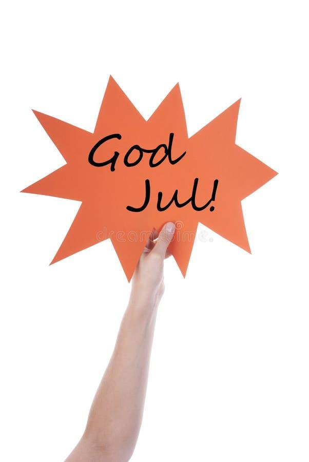 Ballon orange de la parole avec Dieu suédois juillet photographie stock