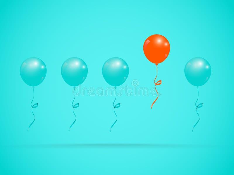 Ballon orange unique exceptionnel blanc de réussite d'isolement par concept d'affaires illustration stock