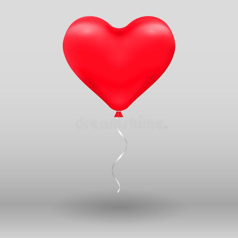ballon réaliste de rouge de coeur de l'hélium 3d Illustration de vacances de piloter le ballon brillant sur le fond illustration stock