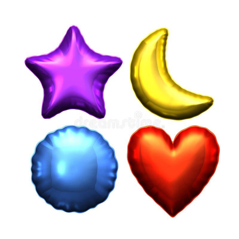 Ballon rond de coeur de lune d'étoile d'aluminium argenté illustration de vecteur