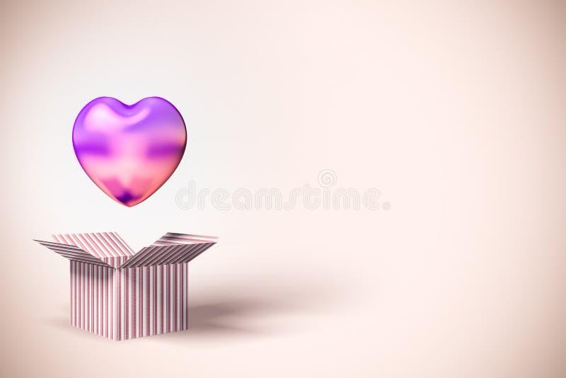 Ballon rose de coeur dans la boîte, côté rose illustration stock