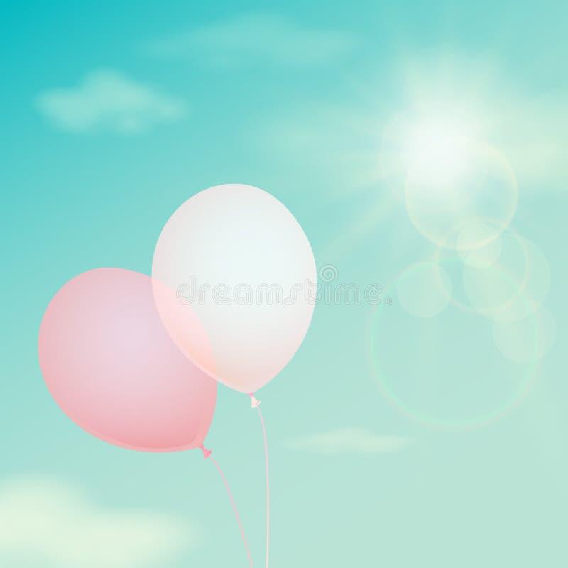 Ballon rose sur le ciel de fond Filtre de vintage de vecteur illustration de vecteur