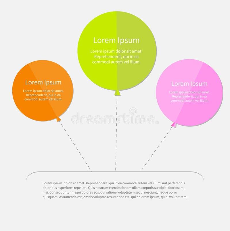 Ballon trois infographic avec la ligne de tiret plate illustration de vecteur