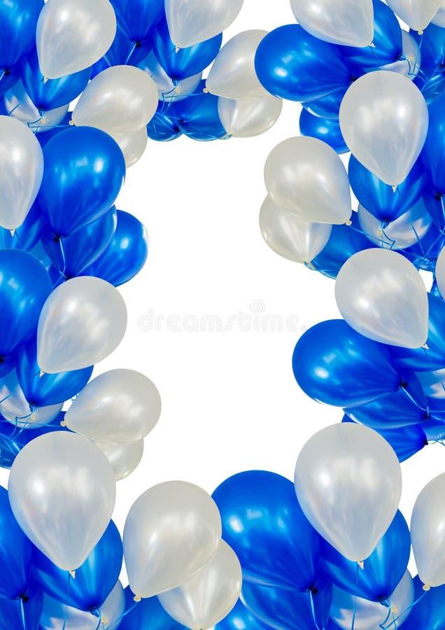 Ballone auf vertikalem weißem Hintergrund, mit Kreisraum in der Mitte lizenzfreies stockfoto