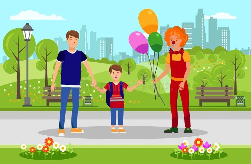 Ballone für Kind vom Clown in der Park-Illustration stock abbildung