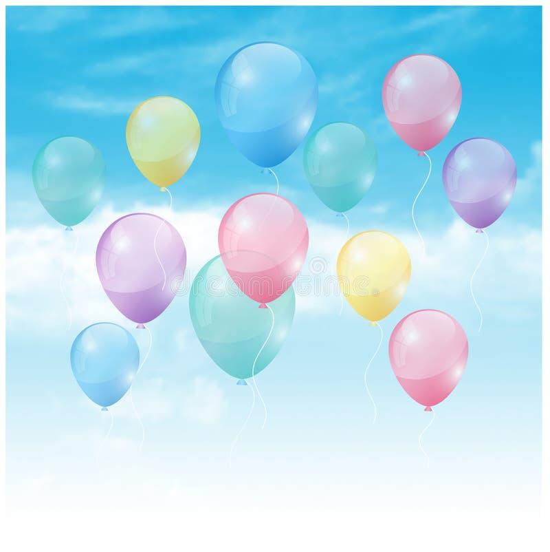 Ballone im Himmel lizenzfreie abbildung