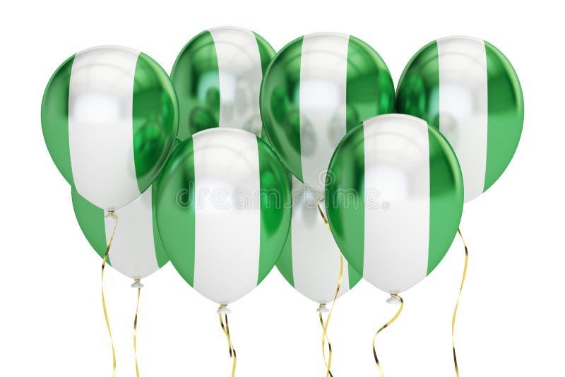 Ballone mit Flagge von Nigeria, holyday Konzept Wiedergabe 3d lizenzfreie abbildung